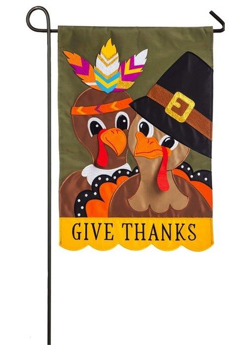 """""""Give Thanks"""" Thanksgiving Couple Applique Garden Flag"""