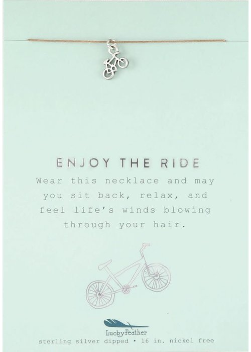 "Lucky Feather ""Enjoy the Ride"" Bike Silver Gift Message Necklace"