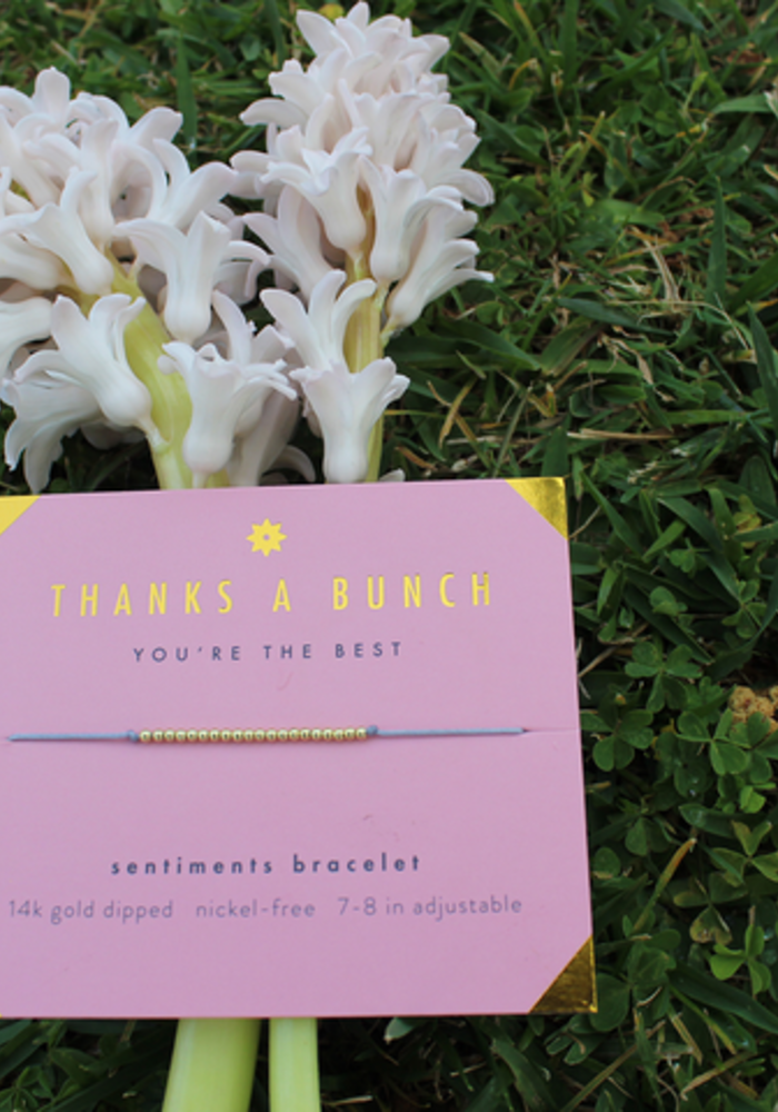 """Thanks A Bunch"" 14K Bead Sentiment Bracelet"