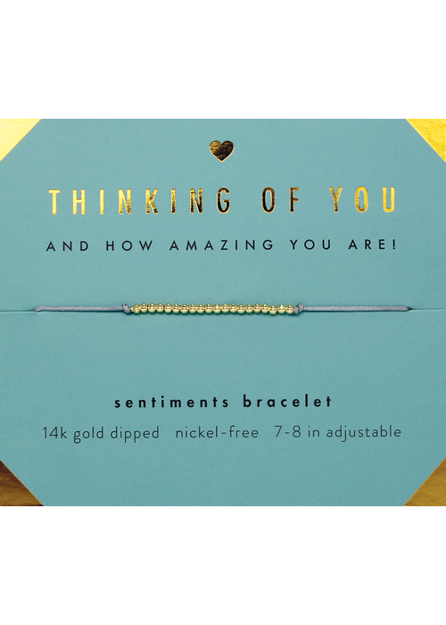 "Lucky Feather ""Thinking of You"" 14k Gold Bead Sentiment Bracelet"