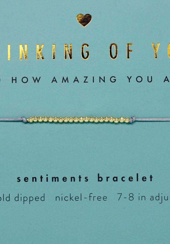 """Thinking of You"" 14k Gold Bead Sentiment Bracelet"