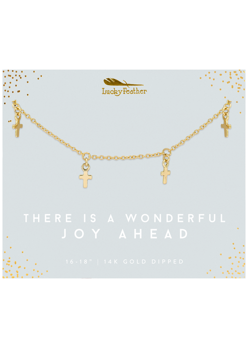"Lucky Feather ""There is a Wonderful Joy Ahead"" 14K Gold Cross Dangle Necklace"