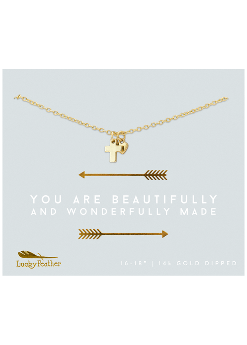 """Lucky Feather """"You are Beautifully and Wonderfully Made"""" 14K Gold Cross and Heart Necklace"""