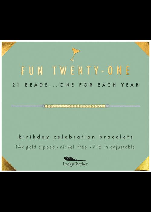 "Lucky Feather ""Fun Twenty-One"" Milestone Birthday Bracelet"
