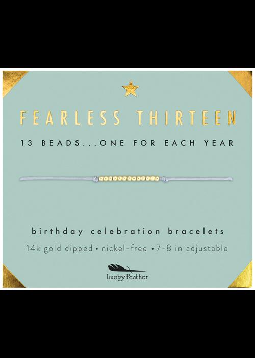 """Lucky Feather """"Fearless Thirteen"""" Milestone Birthday Bracelet"""