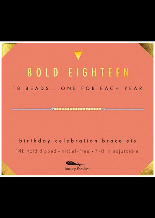 """Lucky Feather """"Bold Eighteen"""" Milestone Birthday Bracelet"""