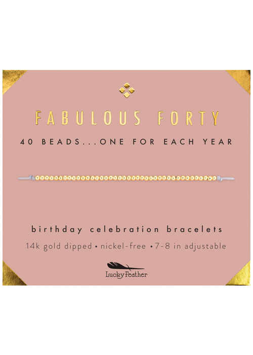 "Lucky Feather ""Fabulous Forty"" Milestone Birthday Bracelet"