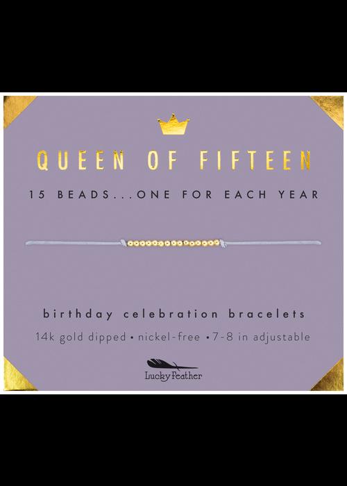 "Lucky Feather ""Queen of Fifteen"" Milestone Birthday Bracelet"