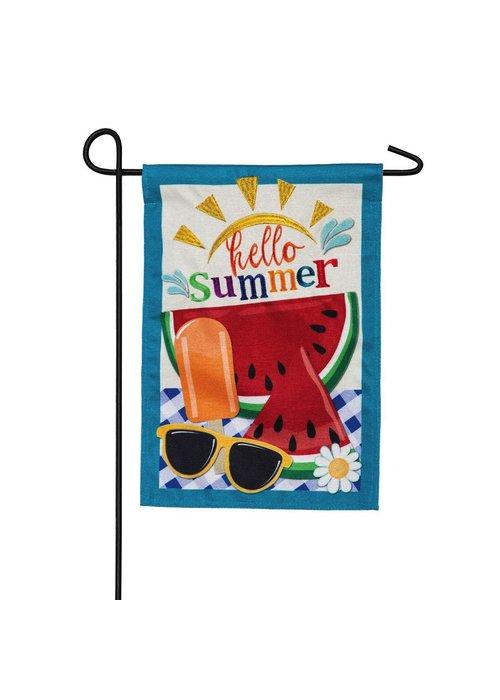 """""""Hello Summer"""" Garden Burlap Flag"""