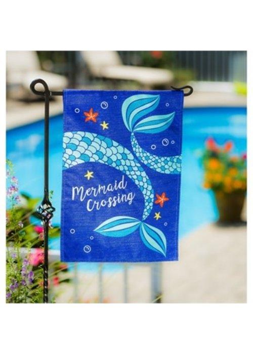 Mermaid Crossing Linen Garden Flag