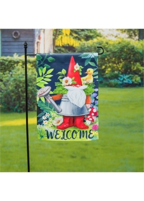 Gnomes in the Garden Suede Flag