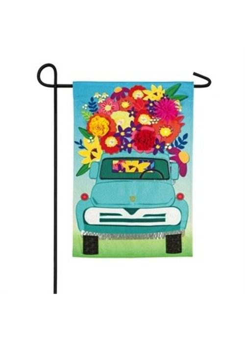 Mint Flower Truck Linen Garden Flag