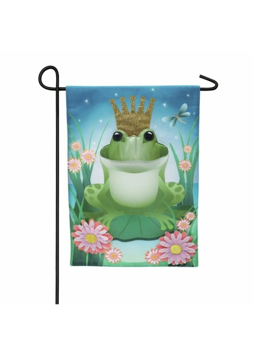 Frog Prince Garden Linen Flag