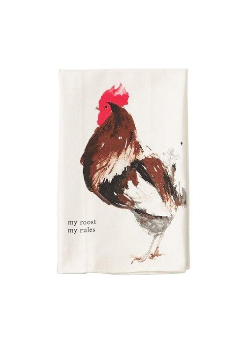 """Mudpie """"My Roost, My Rules"""" Rooster Tea Towel"""