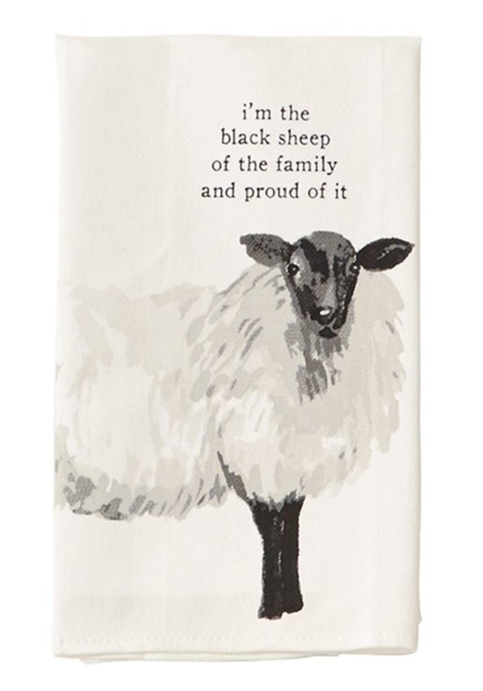 """""""The black sheep...and proud of it"""" Sheep Tea Towel"""