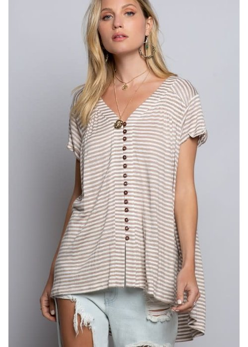 Stripe Button Detail Tunic