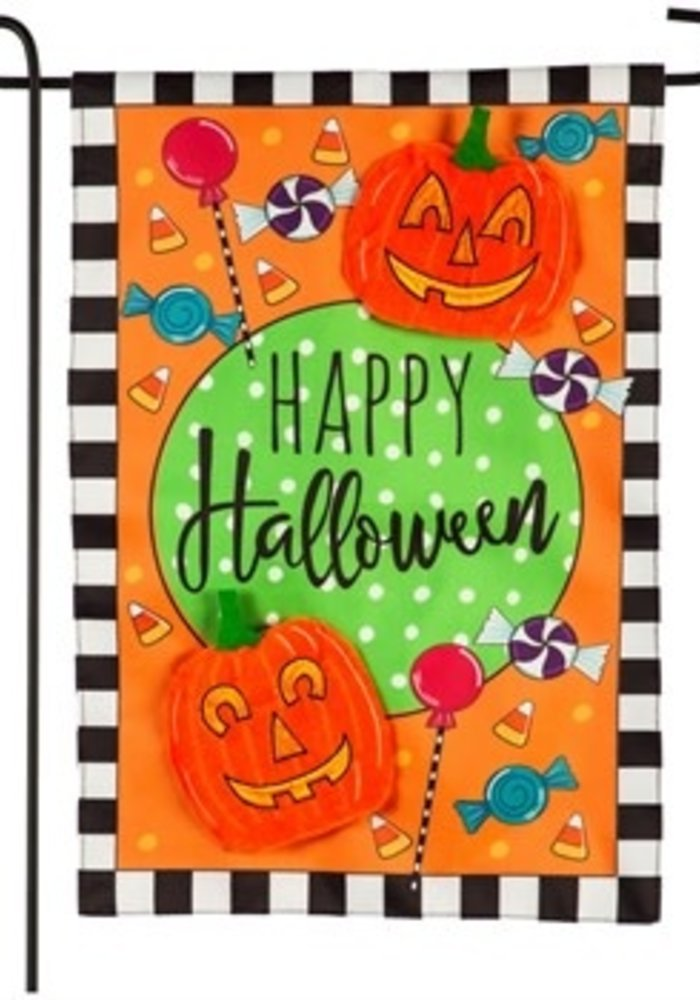 Happy Halloween Celebration Applique Garden Flag