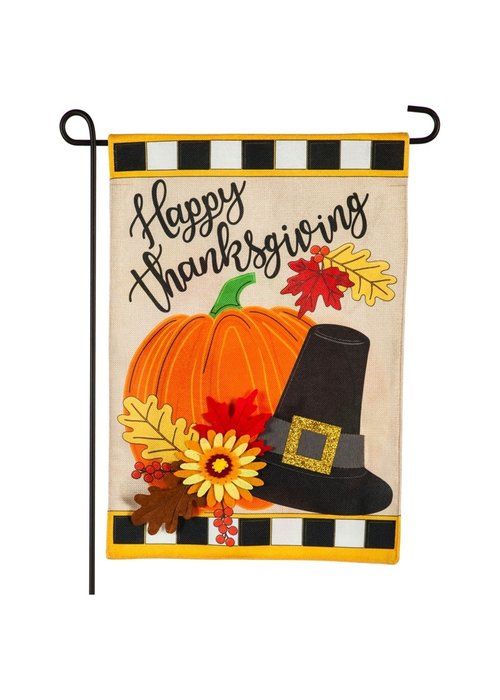 Happy Thanksgiving 3-D Burlap Garden Flag