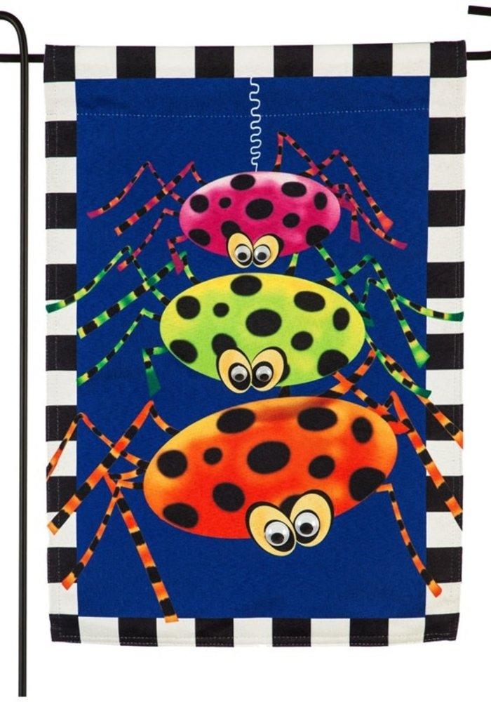 Polka Dot Spider Trio Linen Garden Flag