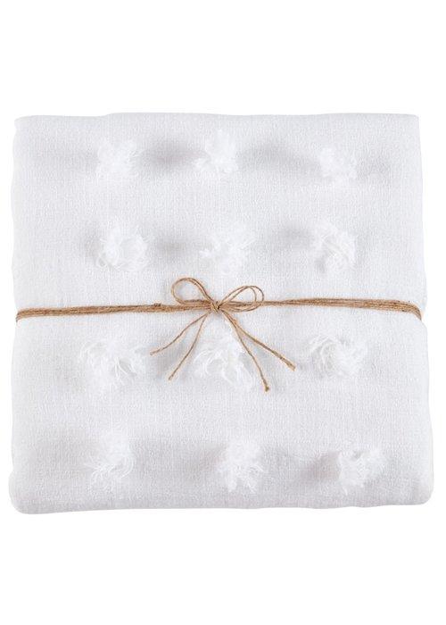 Mudpie White Decorative Fringe Blanket