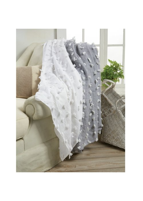 Mudpie Gray Decorative Fringe Blanket