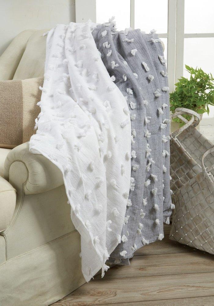 Gray Decorative Fringe Blanket