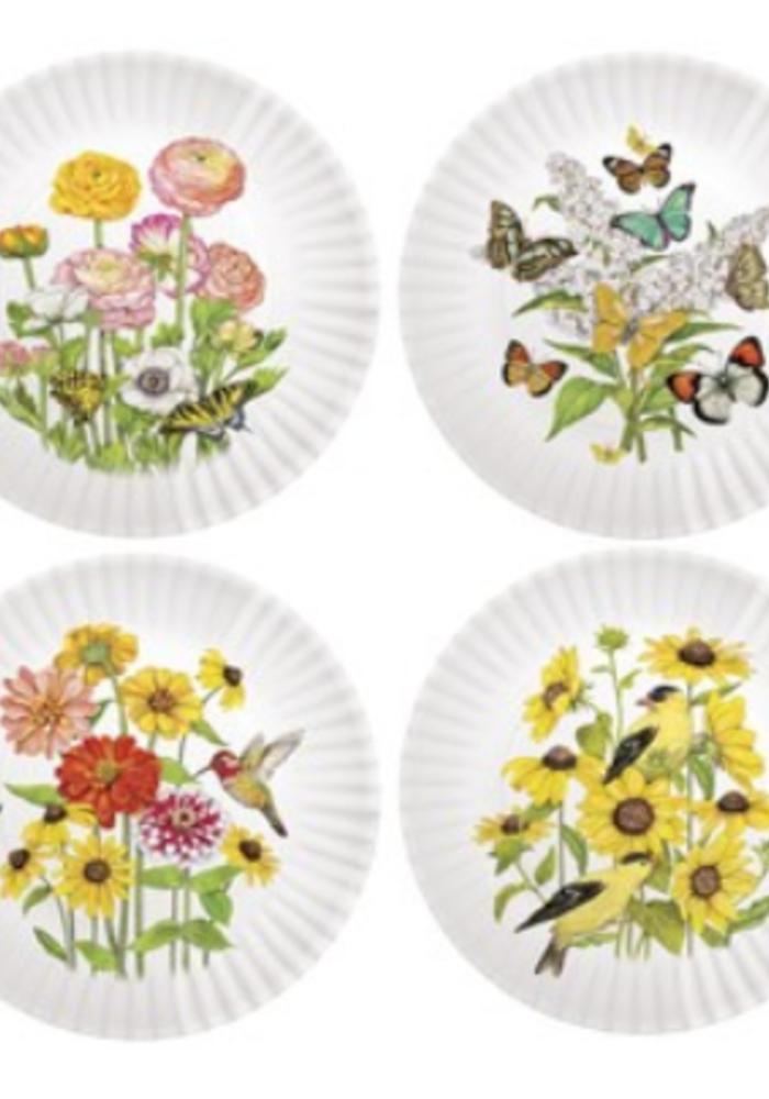 Floral Motif Melamine Plates Set of 4