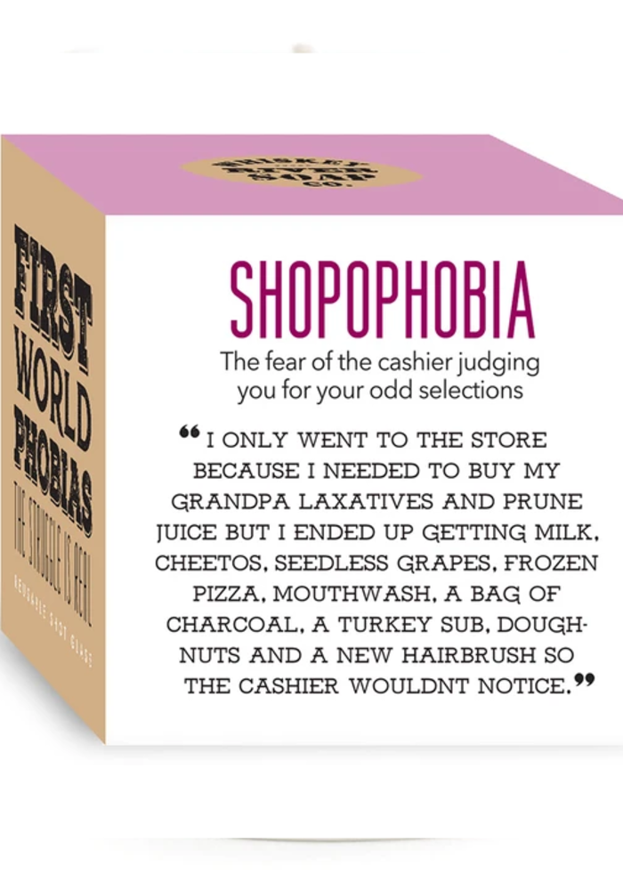 """""""Shopophobia: Fear of the Cashier Judging Your Sketchy Selections"""" Candle"""