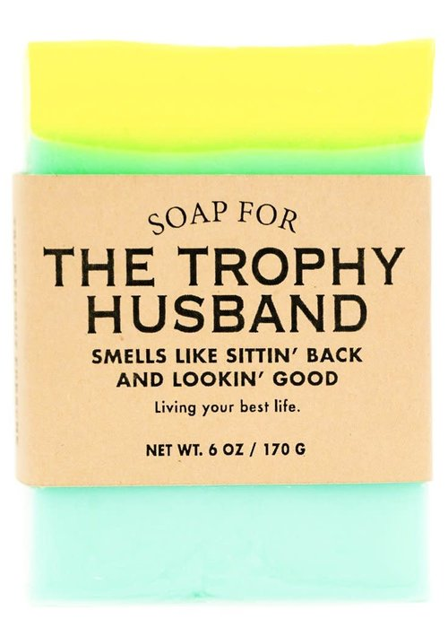 "Whiskey River Soap Co. ""Trophy Husband: Smells Like Sittin' Back & Lookin' Good"" Handmade Soap"