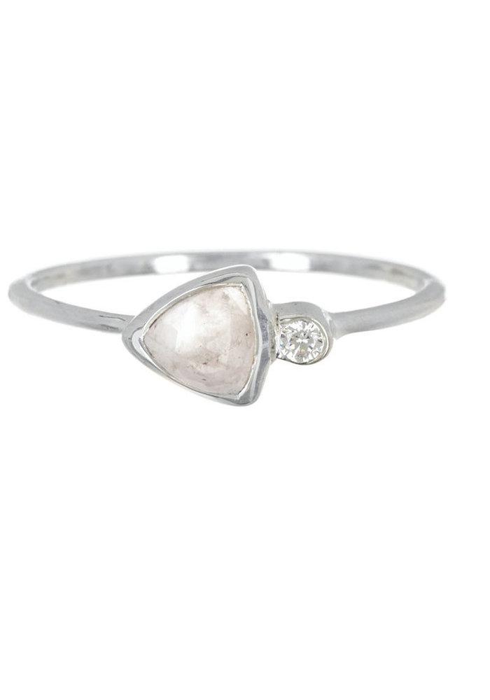 Delicate Triangle Double Stone Silver Ring