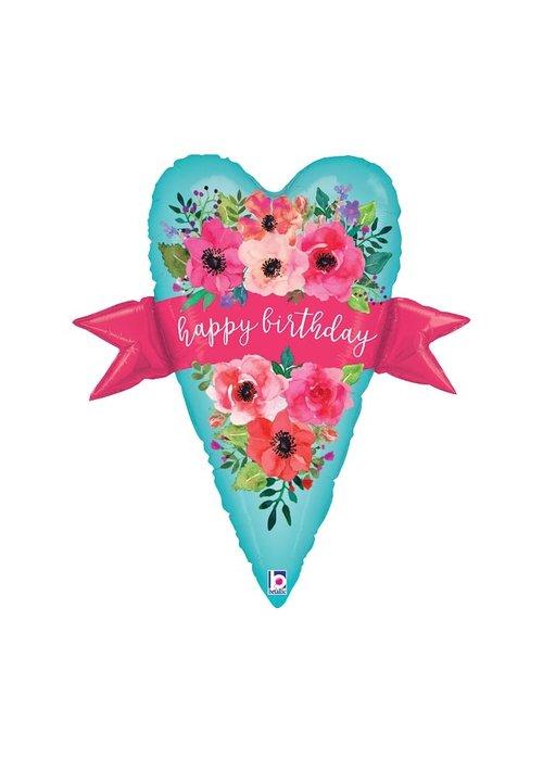 """Happy Birthday"" Heart & Banner 29"" Foil Balloon"