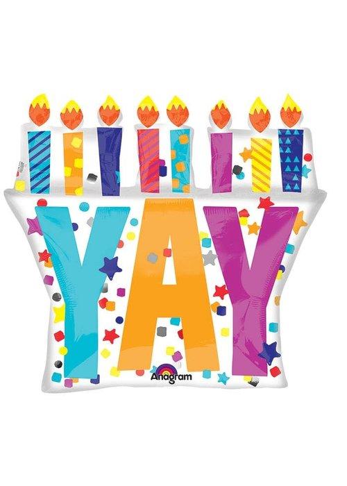 """YAY"" Candles 28"" Balloon"