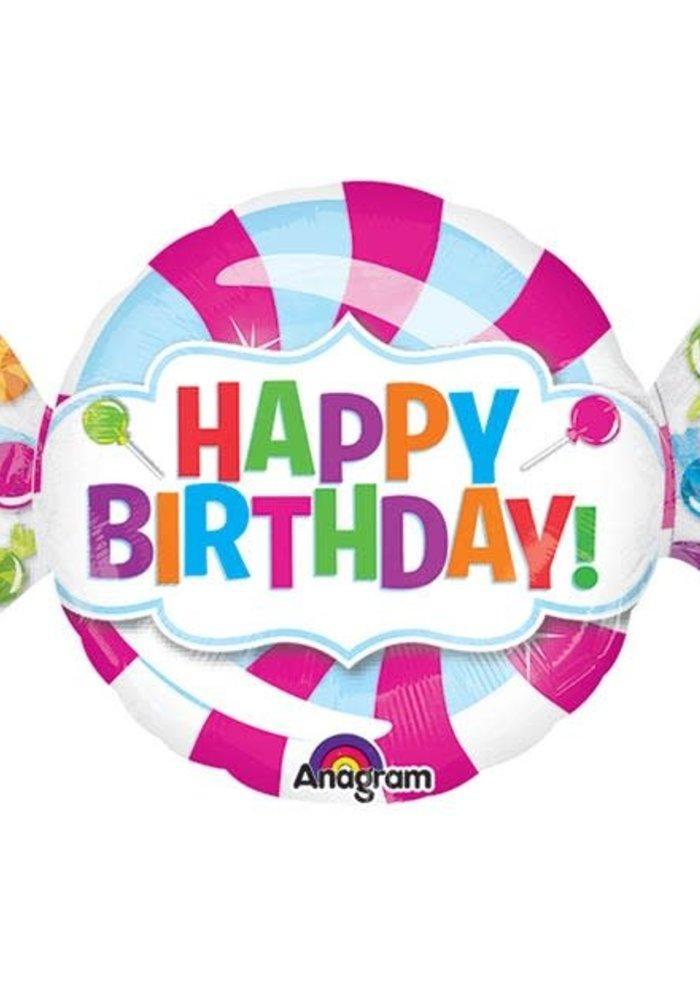 """Happy Birthday"" Candy 40"" Foil Balloon"