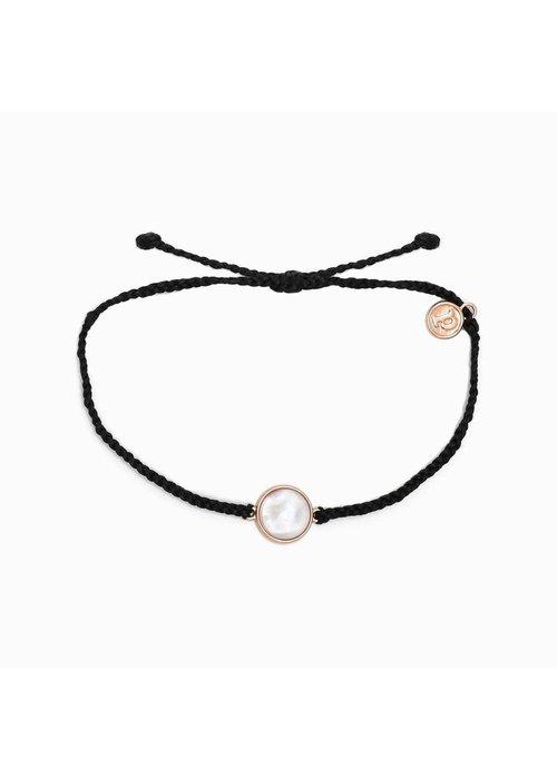 Pura Vida Mother of Pearl Rose Gold Black Bracelet