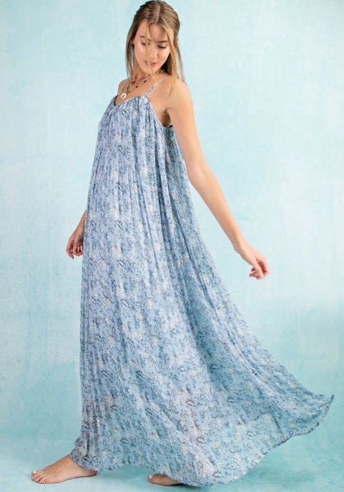Floral Print Chiffon Pleated Dress