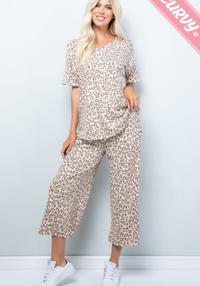 Leopard Print Cropped Pant (Plus)