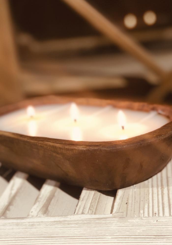 Italian Linen 3-Wick Dough Bowl Candle