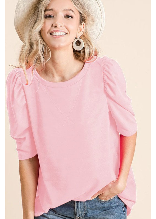 Puffy Sleeve Soft French Terry Top
