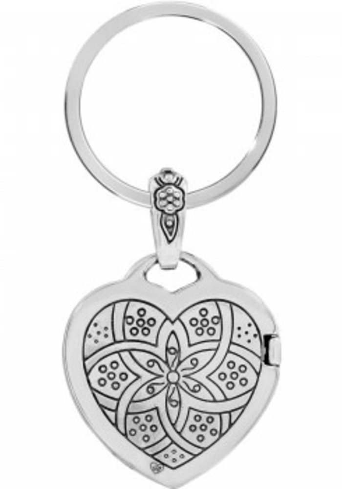 Floral Heart Locket Key Fob