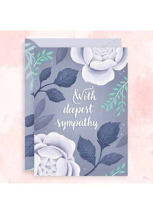 """With Deepest Sympathy"" Teal Foil Card"