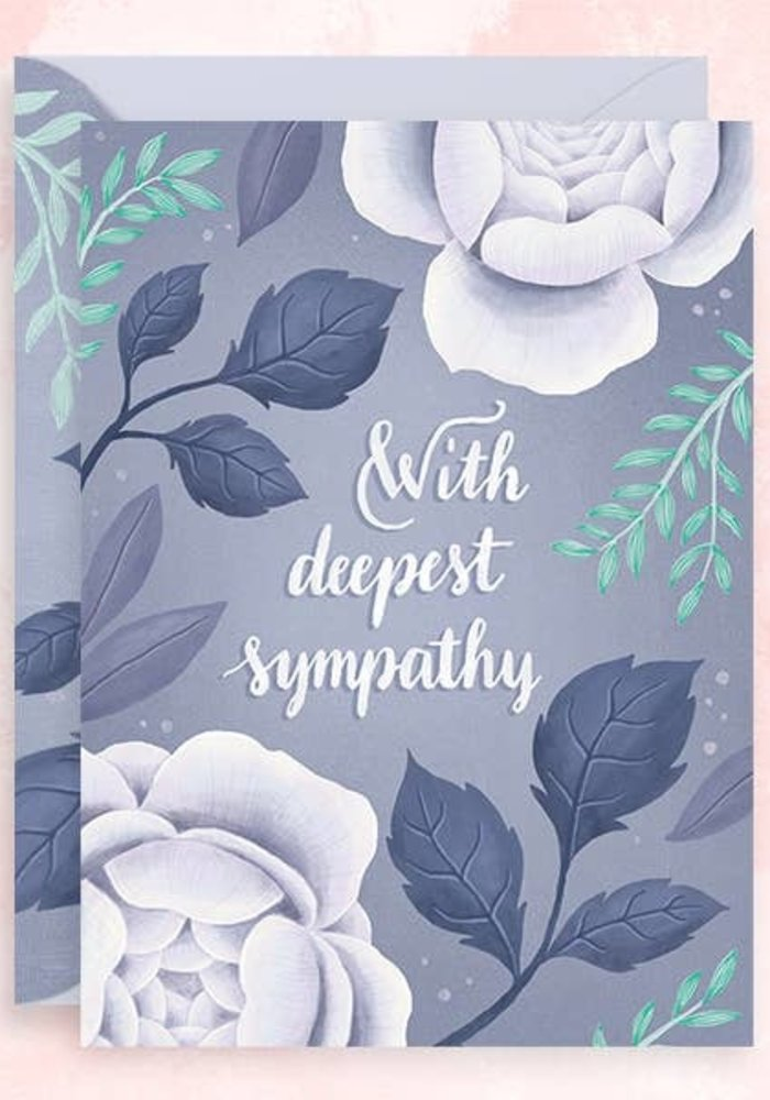 """""""With Deepest Sympathy"""" Teal Foil Card"""