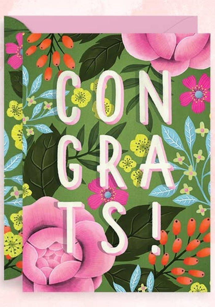 """""""Congrats!"""" Gold Foil Floral Card"""