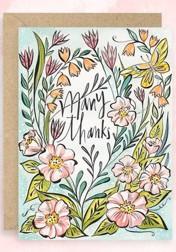 """Many Thanks"" Glitter Floral Card"