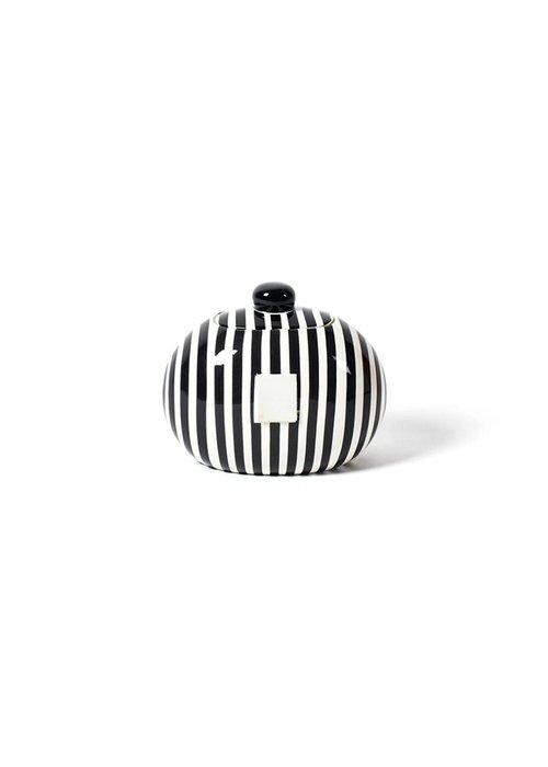 Happy Everything Black Stripe Mini Cookie Jar
