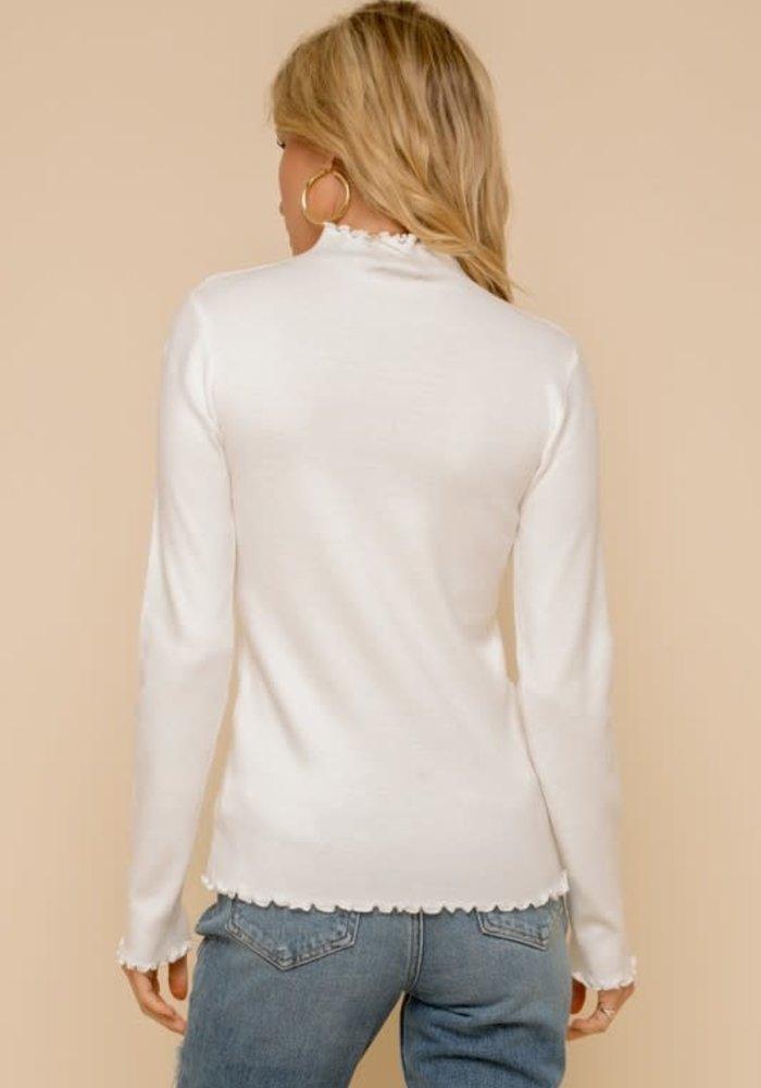 Mini Ruffle Edge Mock Neck Fitted Sweater