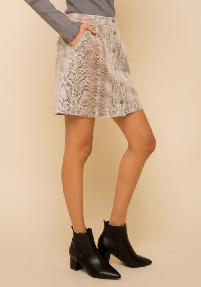 Snake Skin Button Down Mini Skirt