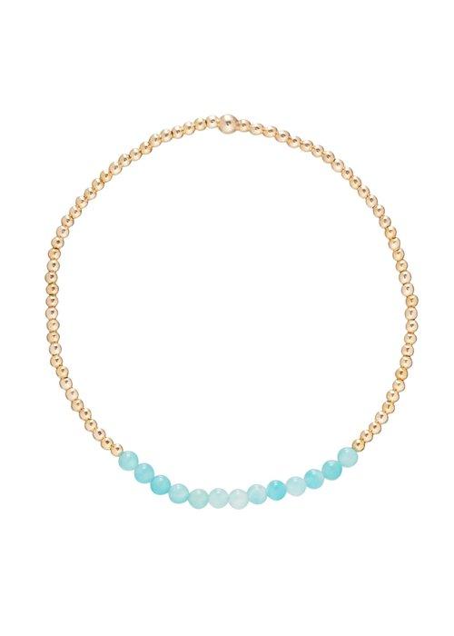 Enewton Amazonite Gemstone Gold Bliss 2mm Bead Bracelet