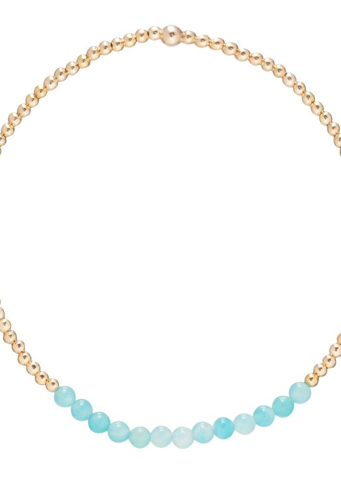 Amazonite Gemstone Gold Bliss 2mm Bead Bracelet