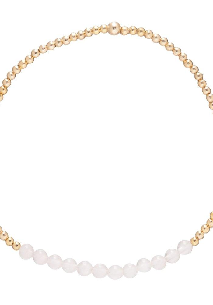 Rose Quartz Gemstone Gold Bliss 2mm Bead Bracelet