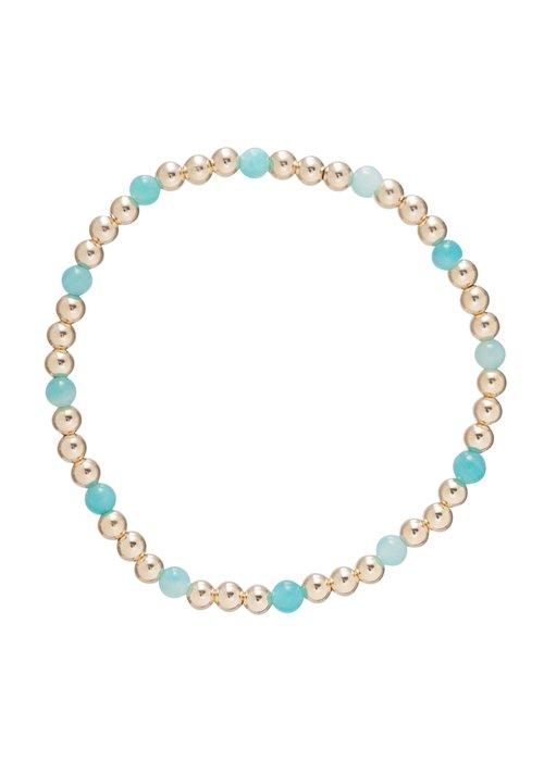 Enewton Amazonite Gold Sincerity Pattern 4mm Bead Bracelet